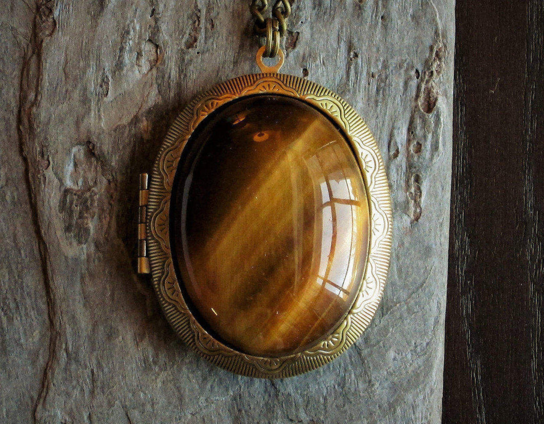 Large tiger eye locket necklace