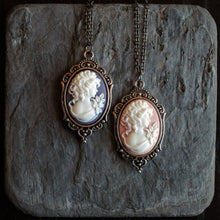 Small purple or pink cameo necklace in silver delicate industry