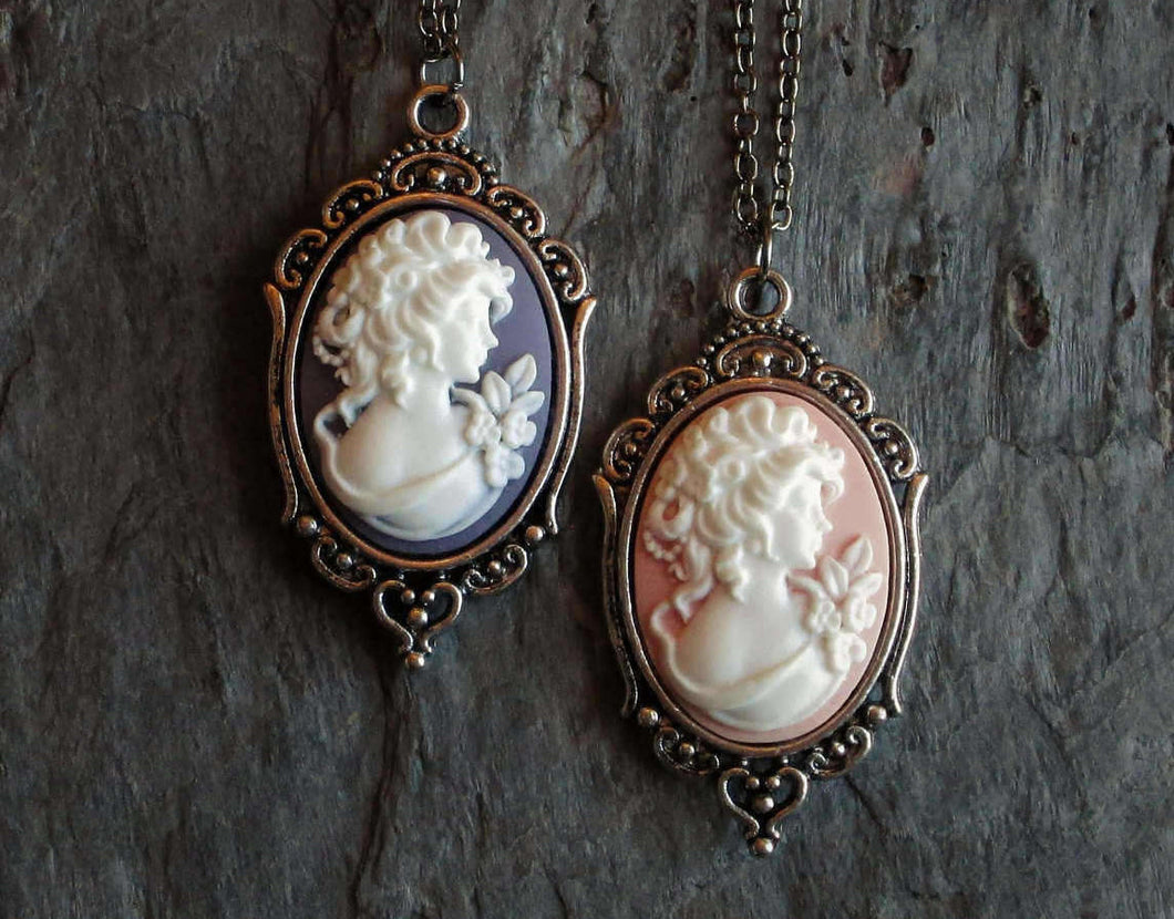 Small pink purple cameo necklace in silver delicate industry