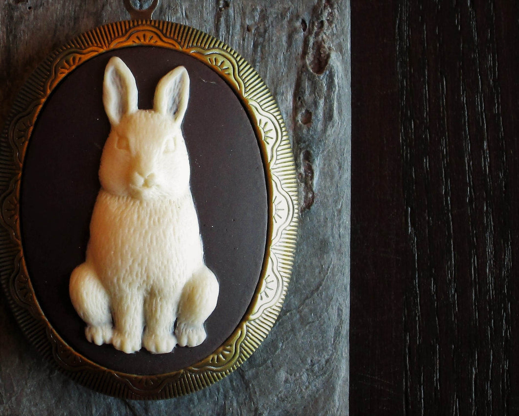 Bunny cameo locket necklace