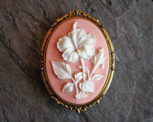 Pink hibiscus flower cameo brooch