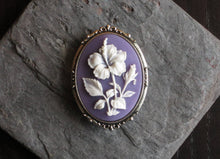 Hibiscus cameo brooch