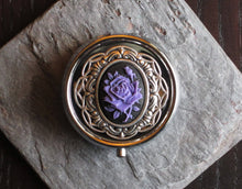 Purple rose cameo pill box