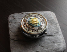 Blue rose cameo pill box
