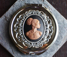 Silver African cameo pill box