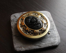 Black rose compact mirror