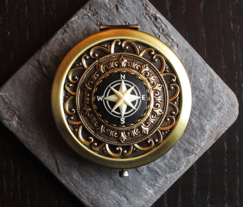 Compass rose compact mirror