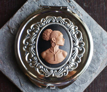 African cameo compact mirror in silver delicate industry