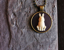 alice in wonderland rabbit cameo necklace