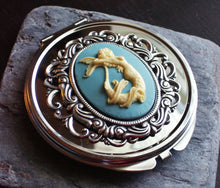 Silver mermaid cameo compact mirror