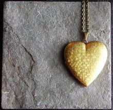 Large brass heart locket necklace