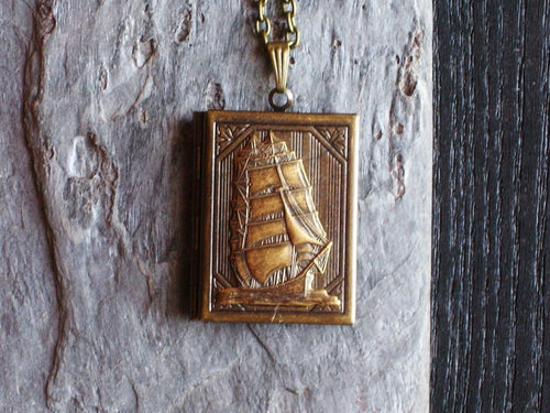 Sailboat locket necklace