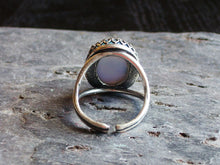 Sky blue glass opal ring in silver