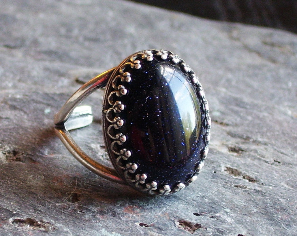 Blue goldstone silver ring