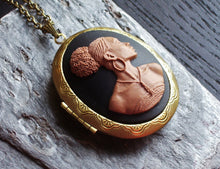 African cameo locket in antique brass delicate industry