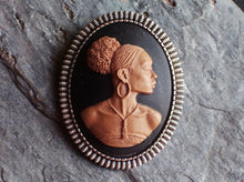 Silver African cameo brooch