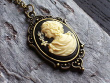small black cameo necklace in antique brass delicate industry