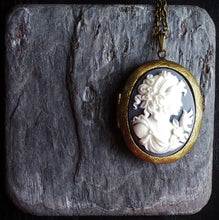 Grey cameo locket necklace