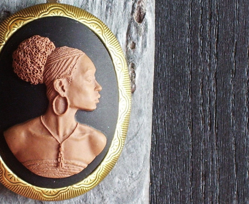 Large African cameo locket necklace in antique brass