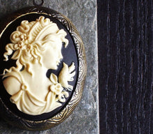 Large black cameo locket