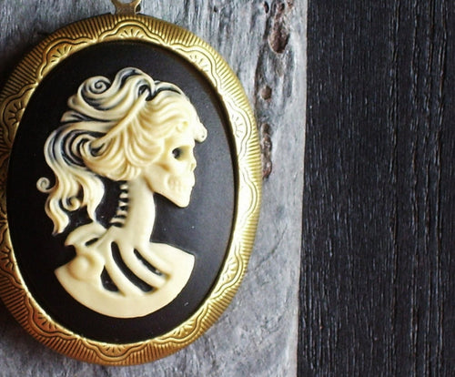Black skeleton cameo locket necklace
