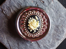 Silver rose cameo pill box