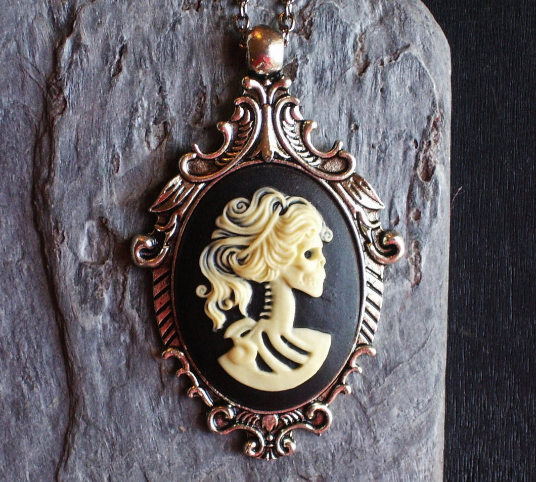 Gothic black skeleton cameo necklace