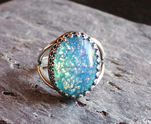 Blue glass opal ring