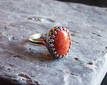 Silver goldstone ring