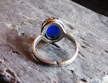 Blue glass opal ring in silver