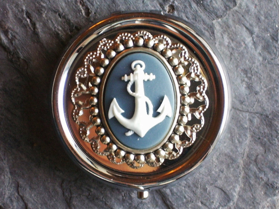 Silver nautical pill box