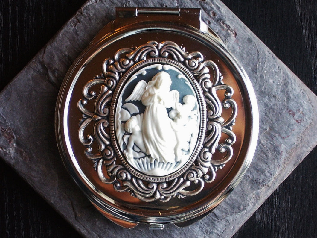 Angel cameo compact mirror