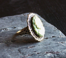 Green cameo ring