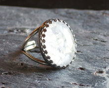 White glass opal ring in silver