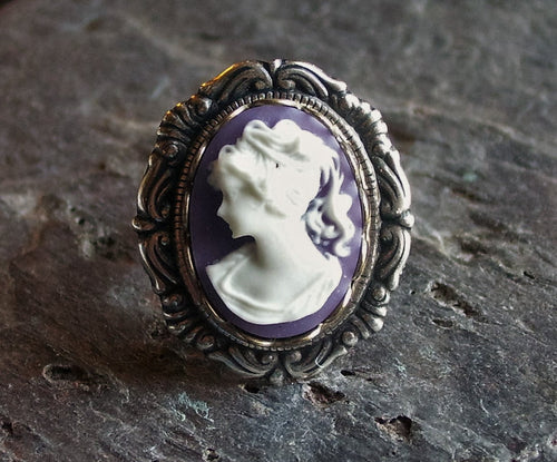 Purple cameo ring