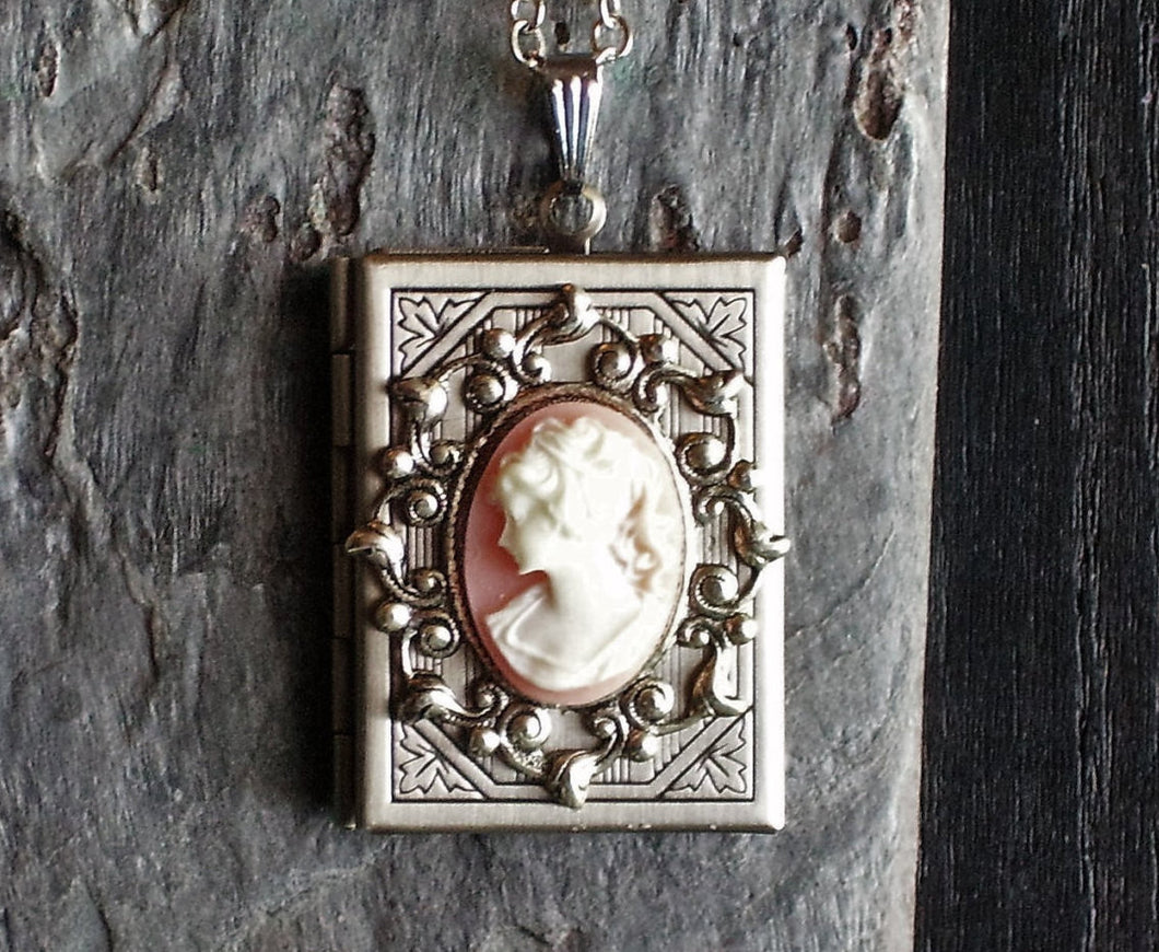 Pink cameo book locket necklace