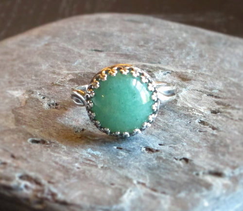 Silver green aventurine ring
