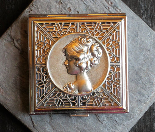 Square silver cameo compact mirror delicate industry