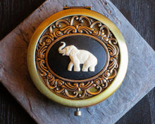 Antique brass elephant cameo compact mirror