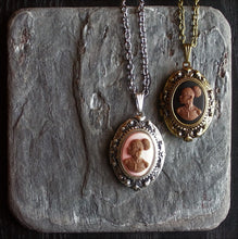 African cameo locket necklace