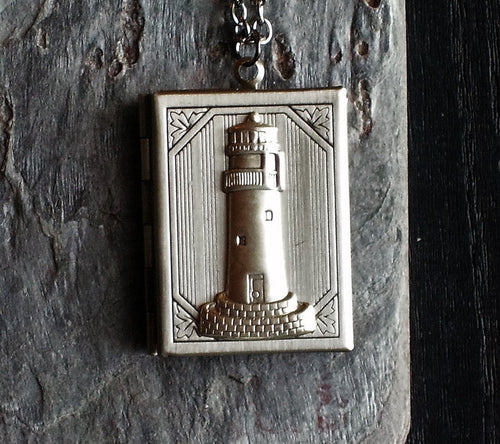 Lighthouse book locket necklace