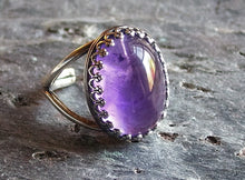 Silver purple amethyst ring