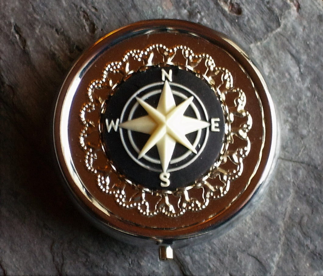 Silver nautical compass cameo pill box