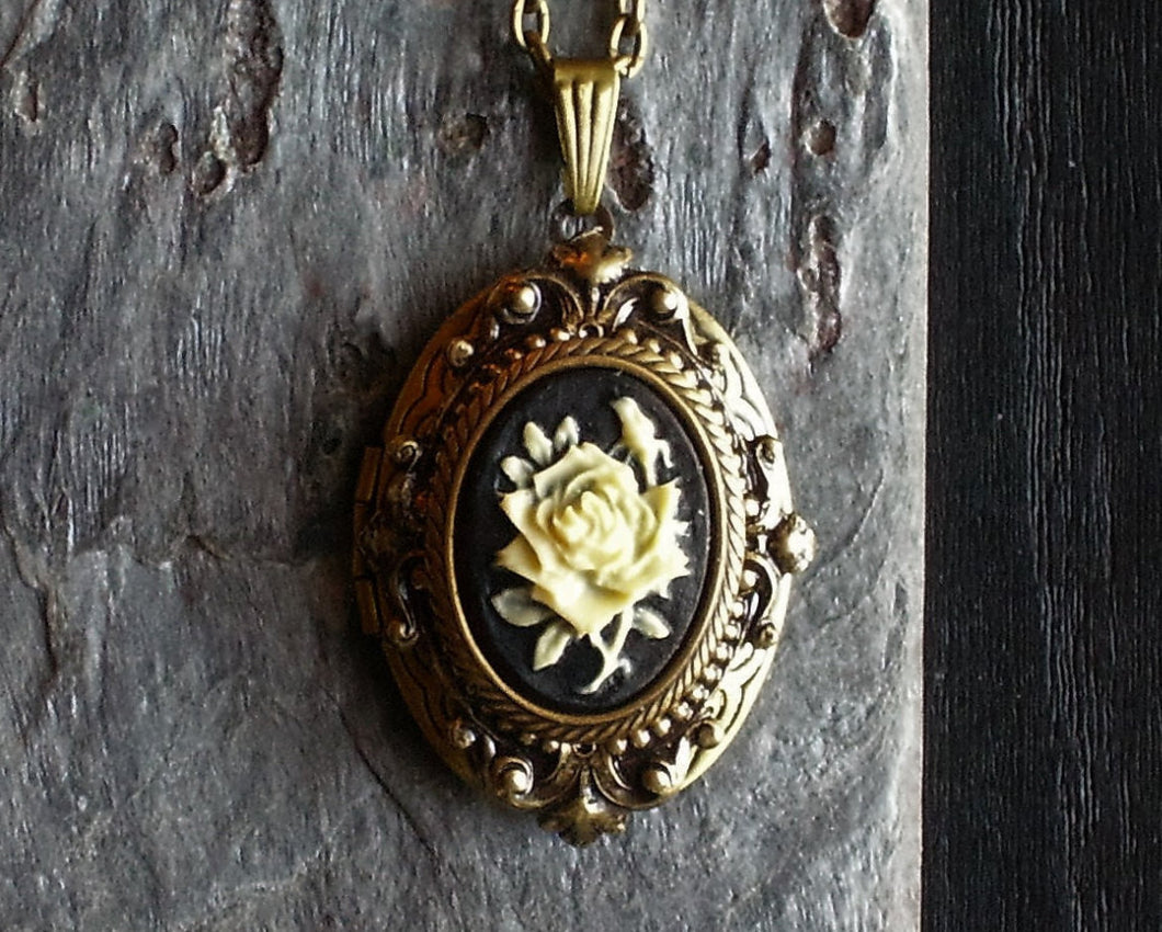 Black rose cameo locket necklace