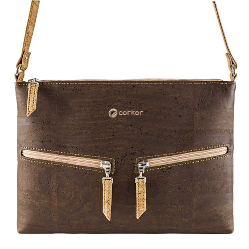 Small Vegan Crossbody Purse - Brown