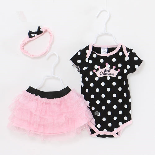 Black Polka Dot Romper 3 Piece Set
