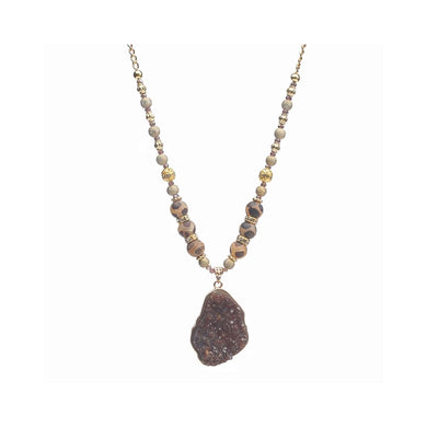 Continuous Brown Druzy and Wood Agate Gold Toned Necklace