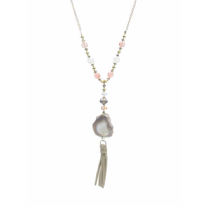 Agate & Watermelon Quartz Tassel Necklace