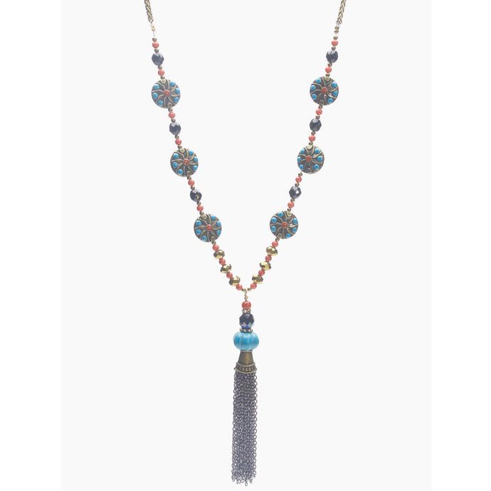 Antique Brass, Turquoise and Mountain Jade Necklace