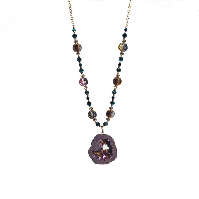 Burgundy Druzy Drop Continuous Gold Tone Necklace